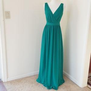 Belle Badgley Midchka size 2, green maxi dress .